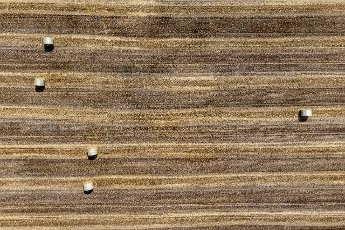 27 July 2021, Bavaria, Schwarzenfeld: Straw bales lying in a field (aerial view with drone). Photo: Armin Weigel\/dpa