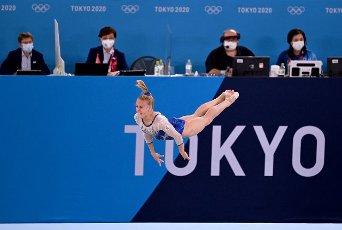 27 July 2021, Japan, Tokio: Gymnastics: Olympics, team, women, final, floor, at the Ariake Gymnastics Centre: Wiktorija Listunowa of the Russian Olymp. Committee in action . Photo: Marijan Murat\/dpa