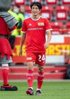31 July 2021, Berlin: Football: Test matches, 1. FC Union Berlin - Athletic Bilbao, Stadion An der Alten Försterei. Genki Haraguchi of Union Berlin enters the pitch during the team presentation. Photo: Andreas Gora\/dpa