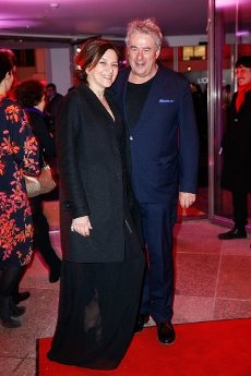 """20 February 2020, Berlin: 70th Berlinale, Opening Party: Martina Gedeck and partner Markus Imboden at the opening party of the International Film Festival. The Berlinale opens with the film """"My Salinger Year"""". Photo: Gerald Matzka/dpa-Zentralbild/"""