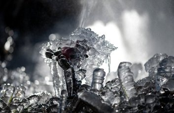 31 March 2020, Baden-Wuerttemberg, Buchenbach: Different forms of ice have formed at a lumberyard after a frosty night. Photo: Patrick Seeger/