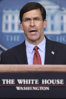 United States Secretary of Defense Dr. Mark T. Esper speaks during a press conference in the Brady Press Briefing Room of the White House on April 1, 2020 in Washington, DC. Credit: Oliver Contreras / Pool via CNP | usage