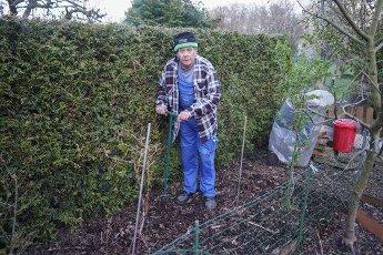 03 April 2020, Berlin: Ronald Conrad cultivates his allotment in an allotment garden in Pankow. Photo: Jörg Carstensen/