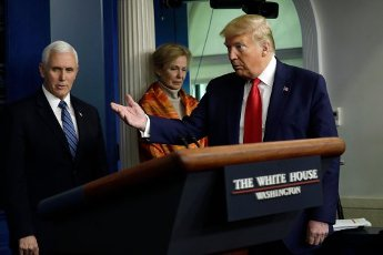 United States President Donald J. Trump gestures at a press briefing on the COVID-19 pandemic with members of the Coronavirus Task Force at the White House in Washington on April 3, 2020. Also pictured are US Vice President Mike Pence, left, and Dr. Deborah L. Birx, White House Coronavirus Response Coordinator, center. Credit: Yuri Gripas / Pool via CNP | usage