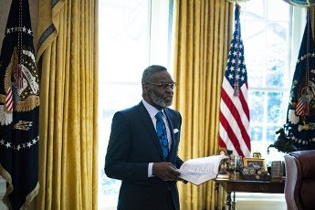 Bishop Harry Jackson, senior pastor at Hope Christian Church in Beltsville, Maryland, offers an Easter blessing to President Donald Trump in the Oval Office of the White House on Friday, April 10, 2020 in Washington. Credit: Al Drago / Pool via CNP | usage