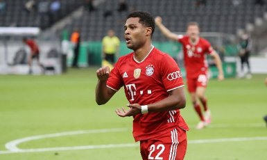 FCB Serge Gnabry, jubilation, goaljubel, after the 2: 0, gesture, gesture, Ruhrt, Ruhrer firo, sports, football, cup final: season 2019\/2020, 04.07.2020 DFB-Pokal final of men Bayer Leverkusen - FC Bayern Munich, Muenchen Photo: Jurgen Fromme \/ firosportphoto \/ POOL For journalistic purposes only! Only for editorial use! | usage