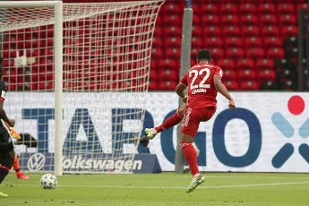 04 July 2020, Berlin: Football: DFB Cup, Final: Bayer Leverkusen - FC Bayern Munich in the Olympic Stadium. Bavaria\'s Serge Gnabry scores the goal for the 0:2. Photo: Michael Sohn\/AP Pool\/dpa - IMPORTANT NOTE: In accordance with the regulations of the DFL Deutsche Fußball Liga and the DFB Deutscher Fußball-Bund, it is prohibited to exploit or have exploited in the stadium and\/or from the game taken photographs in the form of sequence images and\/or video-like photo series