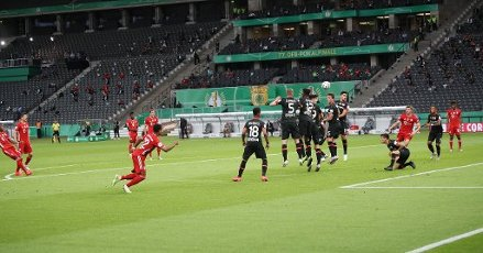 FCB David Alaba, goal, goal, 1: 0, free kick, firo, sports, football, cup final: season 2019\/2020, 04.07.2020 DFB Cup final of men Bayer Leverkusen - FC Bayern Munich, Muenchen Photo: Jurgen Fromme \/ firosportphoto \/ POOL For journalistic purposes only! Only for editorial use! | usage