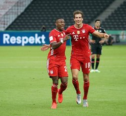 FCB David Alaba, jubilation, goaljubel, after the 2: 0, FCB Leon Goretzka, whole figure, whole body, body, firo, sport, football, cup final: season 2019\/2020, 04.07.2020 DFB Cup final of the men Bayer Leverkusen - FC Bayern Munich, Muenchen Photo: Jurgen Fromme \/ firosportphoto \/ POOL For journalistic purposes only! Only for editorial use!   usage