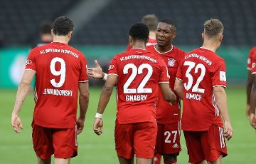 jubilation, goaljubel, FCB David Alaba, FCB Robert Lewandowski, FCB Serge Gnabry, FCB Joshua Kimmich, after the 2: 0 firo, sports, football, cup final: season 2019\/2020, 04.07.2020 DFB-Pokal final of the men Bayer Leverkusen - FC Bayern Munich, Muenchen Photo: Jurgen Fromme \/ firosportphoto \/ POOL For journalistic purposes only! Only for editorial use! | usage