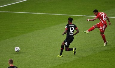 Serge Gnabry, scores the goal for the 2: 0 sport, soccer, cup final: season 2019\/2020, 04.07.2020 DFB-Pokal final of the men Bayer Leverkusen - FC Bayern Munich, Muenchen Photo: Matthias Koch \/ POOL \/ via firosportphoto For journalists only Purposes! Only for editorial use! | usage