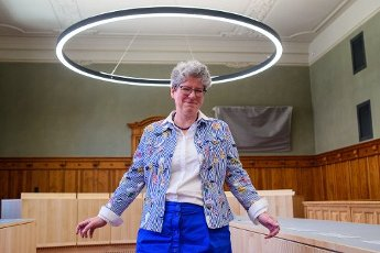 13 July 2020, Saxony-Anhalt, Magdeburg: Anne-Marie Keding (CDU), Minister for Justice and Equality of the State of Saxony-Anhalt, stands in a renovated courtroom and laughs. The state of Saxony-Anhalt had invested around 38 million euros in the renovation of the listed building since 2016. The regional court had been built between 1900 and 1906 as a palace of justice. Photo: Klaus-Dietmar Gabbert\/dpa-Zentralbild