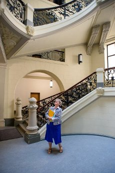 13 July 2020, Saxony-Anhalt, Magdeburg: Anne-Marie Keding (CDU), Minister for Justice and Equality of the State of Saxony-Anhalt, stands at the bottom of the renovated and historic staircase and looks up. The state of Saxony-Anhalt had invested around 38 million euros in the renovation of the listed building since 2016. The regional court was built between 1900 and 1906 as a palace of justice. Photo: Klaus-Dietmar Gabbert\/dpa-Zentralbild