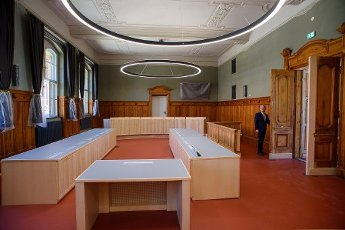 13 July 2020, Saxony-Anhalt, Magdeburg: Frank Böger, President of the Regional Court, turns on the light in a renovated courtroom. Since 2016, Land Sachen-Anhalt had invested around 38 million euros in the refurbishment of the listed building. The regional court had been built between 1900 and 1906 as a palace of justice. Photo: Klaus-Dietmar Gabbert\/dpa-Zentralbild