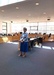 13 July 2020, Saxony-Anhalt, Magdeburg: Anne-Marie Keding (CDU), Minister of Justice and Equality of the State of Saxony-Anhalt, is standing in the conference room where the trial of the Halle assassination is to take place. Photo: Franziska Höhnl\/dpa-Zentralbild