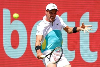 "13 July 2020, Berlin: Tennis: Invitational tournament ""bett1aces"" for ladies and gentlemen at the Steffi Graf Stadium. Men, singles, quarter-finals, Bautista Agut (Spain) - Struff (Germany). Roberto Bautista Agut in action. Photo: Andreas Gora"