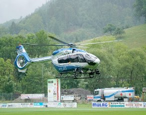 "16 July 2020, Baden-Wuerttemberg, Oppenau: A police helicopter takes off from a green area near Oppenau. On July 12, a man had threatened and disarmed police officers during a check near Oppenau and then fled. A large contingent is searching for the fugitive. (to dpa ""Armed man from Oppenau still on the run"") Photo: Benedikt Spether"