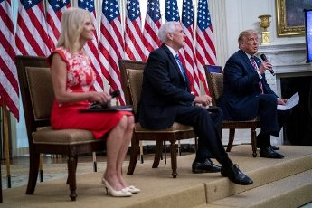 United States President Donald J. Trump with US Vice President Mike Pence and Senior Counselor Kellyanne Conway as they participate in Kids First: Getting America's Children Safely Back to School event in the East Room of the White House in Washington, DC, Wednesday, August 12, 2020. Credit: Doug Mills \/ Pool via CNP   usage worldwide