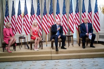 From left to right: United States Secretary of Education Betsy DeVos, Senior Counselor Kellyanne Conway, US Vice President Mike Pence, and US President Donald J. Trump as they participate in Kids First: Getting America's Children Safely Back to School event in the East Room of the White House in Washington, DC, Wednesday, August 12, 2020. Credit: Doug Mills \/ Pool via CNP   usage worldwide