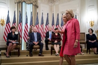 United States Secretary of Education Betsy DeVos and Senior Counselor Kellyanne Conway arrive ahead of President Donald Trump as he participates in Kids First: Getting America's Children Safely Back to School event in the East Room of the White House, Wednesday, Aug. 12, 2020. Credit: Doug Mills \/ Pool via CNP   usage worldwide
