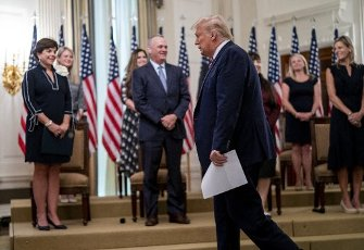 United States President Donald J. Trump as he participates in Kids First: Getting America's Children Safely Back to School event in the East Room the White House in Washington, DC, Wednesday, August 12, 2020. Credit: Doug Mills \/ Pool via CNP   usage worldwide