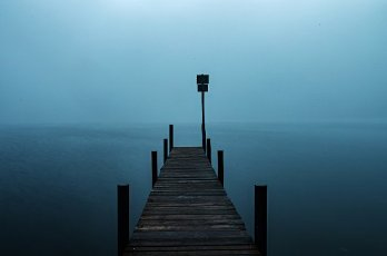 01 October 2020, Berlin: A landing stage leads out into the Wannsee. (long exposure) Photo: Paul Zinken\/dpa-Zentralbild\/dpa