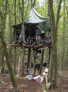 01 October 2020, Hessen, Stadtallendorf: Environmental activists are sitting on a tree hut in the occupied forest near Stadtallendorf. This is where the first construction phase of the controversial A49 is to begin. Photo: Boris Roessler\/dpa
