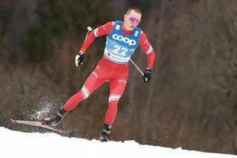 03 March 2021, Bavaria, Oberstdorf: Nordic skiing: World Championships, cross-country - 15 km freestyle, men. Alexander Bolshunov from Russia in action. Photo: Daniel Karmann\/dpa