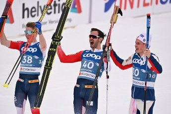 From left: Simen Hegstadt KRUEGER (NOR), Hans Christer HOLUND (NOR), Harald Oestberg AMUNDSEN (NOR), jubilation, joy, enthusiasm, Cross Country Men 15 km Interval Start Free, cross-country skiing, men on 03.03.2021. FIS Nordic World Ski Championships 2021 in Oberstdorf from February 22nd to March 7th, 2021. | usage worldwide