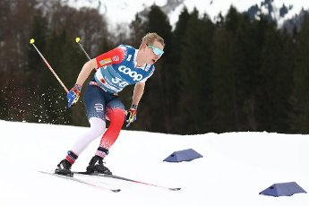 03 March 2021, Bavaria, Oberstdorf: Nordic skiing: World Championships, cross-country - 15 km freestyle, men. Simen Hegstad Kruger from Norway in action. Photo: Daniel Karmann\/dpa