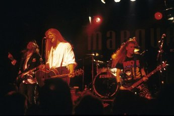 Dane Sonnier, Ben Huggins and Monty Colvin of the Galactic Cowboys live at the Marquee Club. London, 08\/28\/1991 | usage worldwide