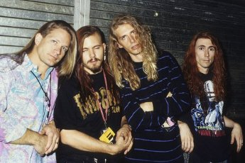 Ben Huggins, Dane Sonnier, Alan Doss and Monty Colvin of the Galactic Cowboys during a photoshoot before their concert at the Marquee Club. London, 08\/28\/1991   usage worldwide