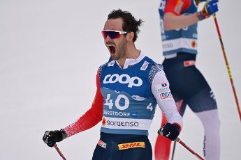Hans Christer HOLUND (NOR), winner, winner. jubilation, joy, enthusiasm, action, single image, trimmed single motif, half figure, half figure. Cross Country Men 15 km Interval Start Free, cross-country skiing, men on 03.03.2021. FIS Nordic World Ski Championships 2021 in Oberstdorf from February 22nd to March 7th, 2021.   usage worldwide