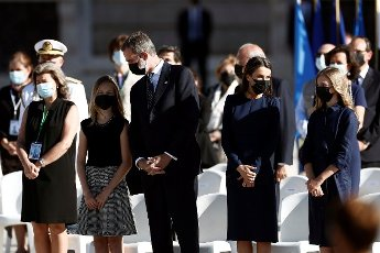 Spanish royal family members (from 2-L) Crown Princess Leonor; King Felipe VI, Queen Letizia and Princess Sofia attend the state tribute to COVID-19 victims and people working on the front line to fight the pandemic at Royal Palace\'s courtyard in Madrid, Spain, 16 July 2020. The ceremony was chaired by Spain\'s King Felipe VI. EFE\/Mariscal POOL