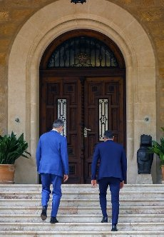 King Felipe VI of Spain (L) greets Spanish Prime Minister, Pedro Sanchez, at Marivent Palace in Palma de Mallorca, Spain, 12 August 2020. It is tradition, every year, for the Spanish monarch to grant audience to the incumbent Prime Minister during his holidays in Mallorca. EFE\/ Ballesteros