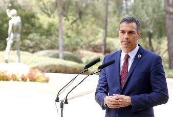 Spanish Prime Minister, Pedro Sanchez, addresses media after his meeting with King Felipe VI of Spain at Marivent Palace in Palma de Mallorca, Spain, 12 August 2020. It is tradition, every year, for the Spanish monarch to grant audience to the incumbent Prime Minister during his holidays in Mallorca. EFE\/ Ballesteros