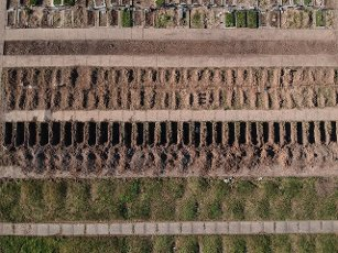 Aerial view of the Flores cemetery where burials are carried out under the protocols established due to the COVID-19 pandemic, today in Buenos Aires, Argentina 12 August 2020. EFE\/Juan Ignacio Roncoroni