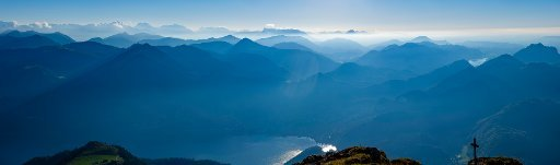 Panorama photo, Alpine panorama from the Schafbergspitze to the Berchtesgadener Alps, below the Wolfgangsee, Schafberg, Salzkammergut, Salzburger Land, Austria