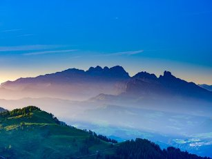 Alpine panorama, Hoher Dachstein at dawn, Upper Austria, Austria