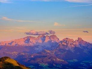 Alpine panorama, Hoher Dachstein at dusk, Upper Austria, Austria