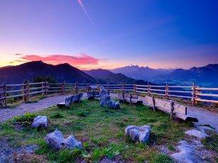 Viewpoint with alpine panorama, behind the Dachstein, Salzburger Land, Austria