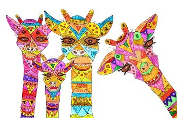 Four painted giraffes, naive painting, white