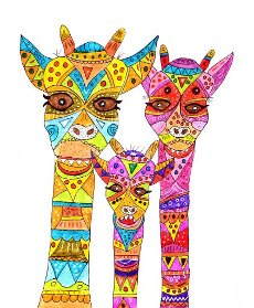 Three painted giraffes, naive painting, white