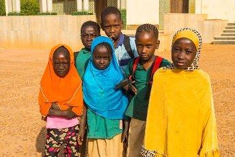 Local school children look at the camera, Niamey, Niger