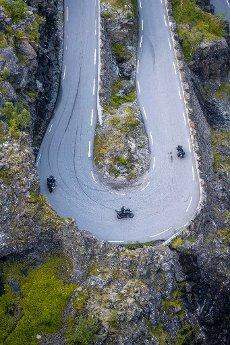 Motorcycles in hairpin bends at the mountain road Trollstigen, near Åndalsnes, Møre og Romsdal, Vestland, Norway