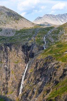 Stigfossen waterfall by the mountain road Trollstigen, near Åndalsnes, Møre og Romsdal, Vestland, Norway