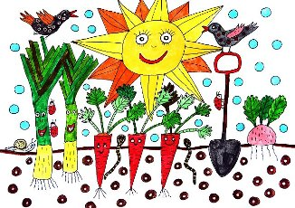 Vegetable garden in summer with two birds, white background, naive illustration, Germany