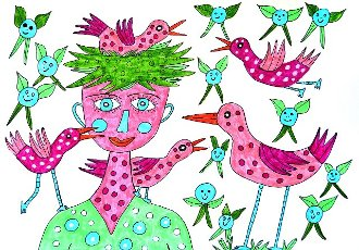 Woman with colorful birds, white background, naive illustration, Germany