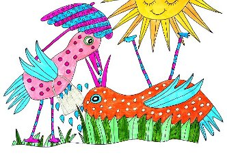 Two colorful birds in summer heat, white background, naive illustration, Germany