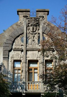 Art Nouveau house facade, residential house, Lypky district, Kiev, Ukraine